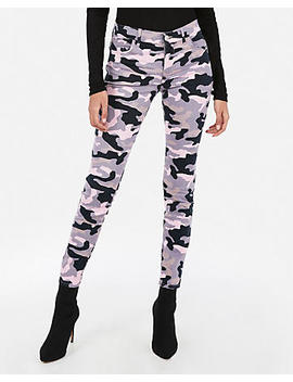 Mid Rise Pink Camo Jean Leggings by Express
