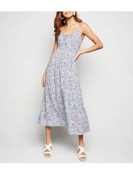 Lilac Floral Lace Up Front Midaxi Dress by New Look