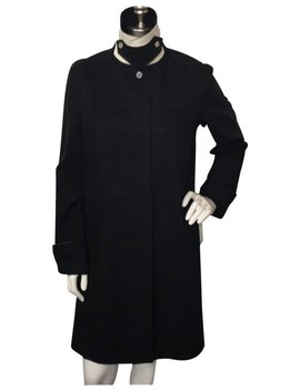 Black With White Trim Cotton Jacket Coat by Lauren Ralph Lauren
