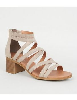 Light Brown Strappy Low Block Heel Footbed Sandals by New Look