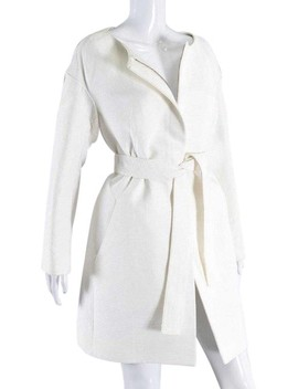 White Unworn Ribbed Cotton With Tie Belt Coat by Chloé