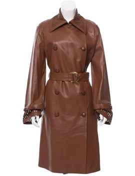 Brown Double Breasted Leather Coat by Escada