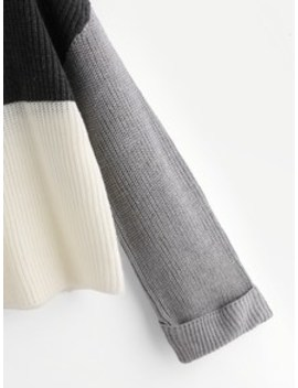 Roll Cuff Color Block Sweater by Shein