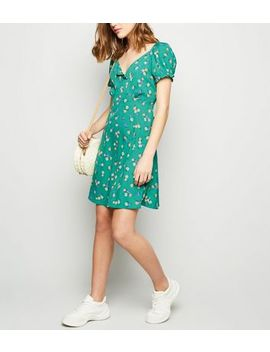 Green Floral Puff Sleeve Tea Dress by New Look