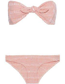 Poppy Knotted Striped Seersucker Bandeau Bikini by Lisa Marie Fernandez