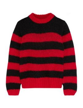 Striped Wool And Mohair Blend Sweater by Ganni