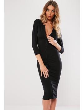 Black Button Through Bodycon Midi Dress by Missguided