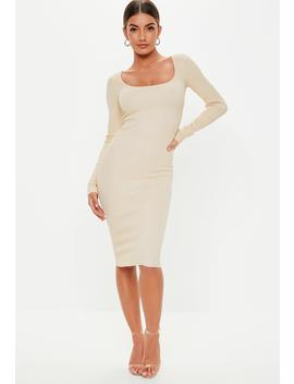 Sand Square Neck Long Sleeve Knitted Midi Dress by Missguided