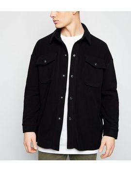 Schwarze Hemdjacke Aus Fleece Mit Druckknöpfen by New Look