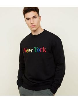 """Schwarzes Sweatshirt Mit """"New York"""" Stickerei In Regenbogen Optik by New Look"""