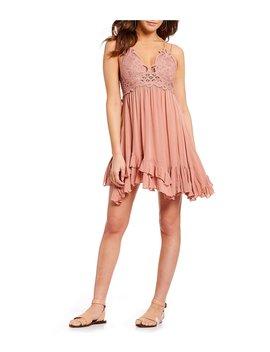 Adella Lace Slip Ruffle Asymettric Hem Spaghetti Strap Flounce Mini Dress by Free People