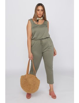 Plus Size Basic Sleeveless Drawstring Jumpsuit by Urban Planet