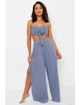 Tie Front Bandeau Beach Co Ord Set by Boohoo