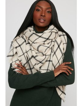 Soft Brushed Knit Check Scarf by Urban Planet