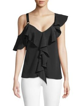 Ruffled Cold Shoulder Silk Top by Proenza Schouler