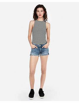 Low Rise Relaxed Double Roll Denim Shortie by Express