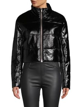 Cropped Faux Leather Puffer Coat by Wythe Ny