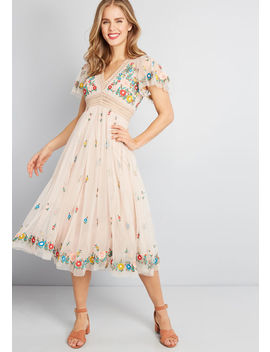 Speak Of Love Embroidered Midi Dress by Modcloth