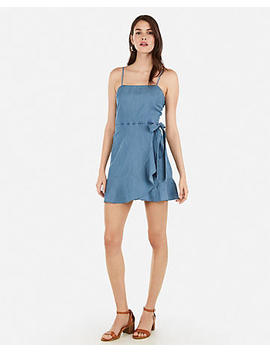 Denim Square Neck Ruffle Wrap Mini Dress by Express