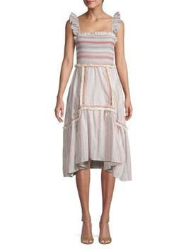 Smocked & Striped Cotton Dress by Allison New York