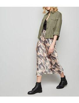 Green Camo Bias Cut Satin Midi Skirt by New Look