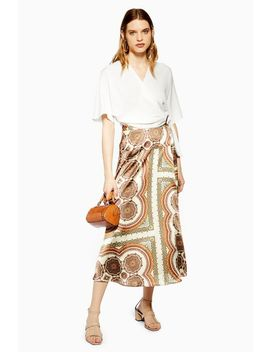 Petite Paisley Bias Wrap Midi Skirt by Topshop