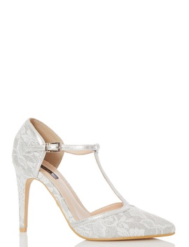 *Quiz Silver Glitter Lace T Bar Court Shoes by Dorothy Perkins