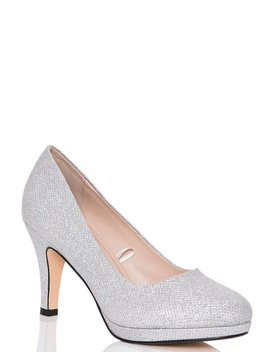 *Quiz Silver Glitter Mid Heel Court Shoes by Dorothy Perkins