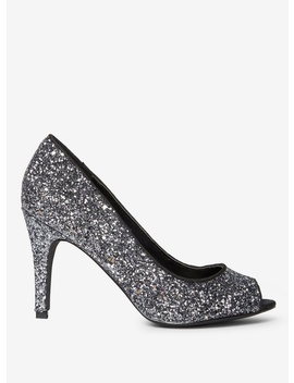 Pewter Glitter 'Clover' Court Shoes by Dorothy Perkins