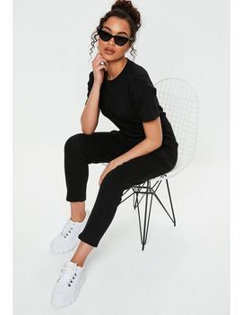 Black Ribbed Pocket Jumpsuit by Missguided