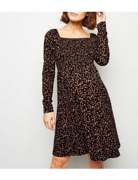 Maternity Black Floral Long Sleeve Soft Touch Dress by New Look