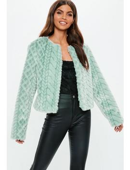 Mint Snake Effect Faux Fur Coat by Missguided