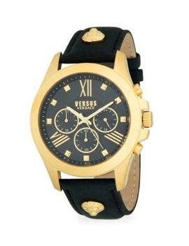 Goldtone Stainless Steel & Leather Strap Chronograph Watch by Versus Versace