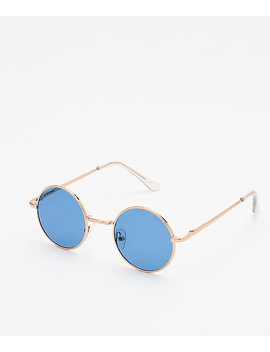 Kid Navy & Gold Round Sunglasses by I Sea
