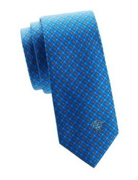Geometric Print Silk Tie by Versace Collection