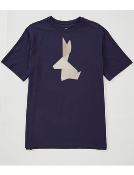 Short Sleeve Graphic Origami Rabbit Print Tee by Crosby & Howard