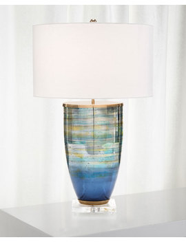 John Richard Collection Blue Striated Glass Table Lamp  by John Richard Collection