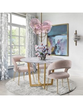 Rocco Blush Velvet Dining Chair by Generic
