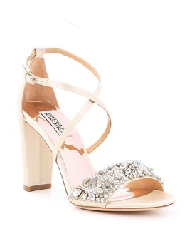 Sandra Satin Jeweled Strappy Block Heel Dress Sandals by Badgley Mischka