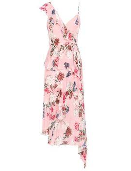 Asymmetric Ruffled Floral Print Silk Georgette Midi Dress by Nicholas
