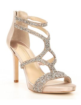 Karalina Crystal Satin Criss Cross Platform Dress Sandals by Antonio Melani