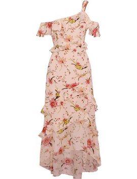 Jillian One Shoulder Silk Chiffon Midi Dress by Rachel Zoe
