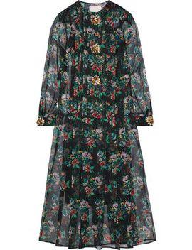 Crystal Embellished Floral Print Silk Gauze Midi Dress by Christopher Kane