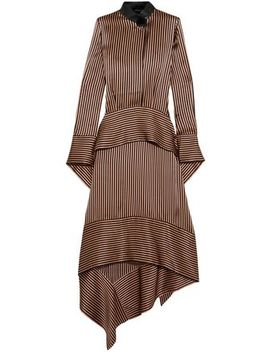 Leather Trimmed Asymmetric Striped Silk Satin Midi Dress by Petar Petrov