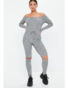 Grey Rib Bardot Long Sleeve Jumpsuit by Missguided