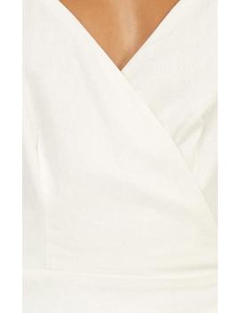 Whisper It Dress In White Linen Look by Showpo Fashion