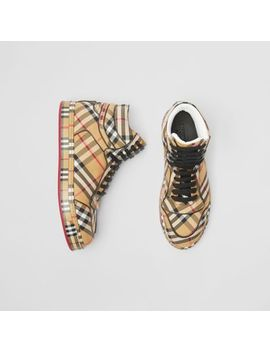 vintage-check-cotton-high-top-sneakers by burberry