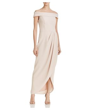 Off The Shoulder Draped Crepe Gown   100 Percents Exclusive by Aqua
