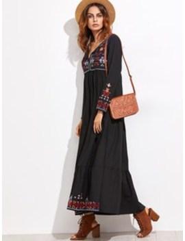 Embroidered Tassel Detail Tiered Seam Dress by Sheinside