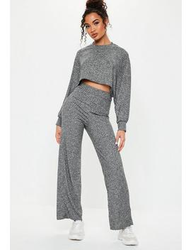 Grey Ribbed Wide Leg Co Ord Set by Missguided